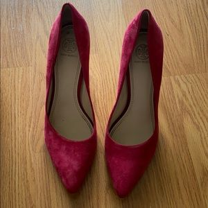 Red Suede Tory Burch Pumps